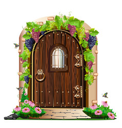 Old wooden door in the garden vector