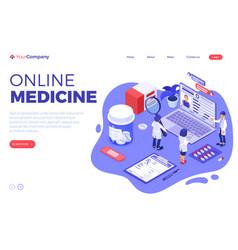 Online medical diagnostics isometric vector