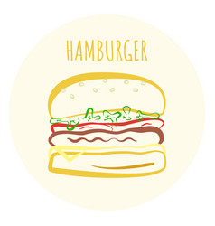 outline colorful hamburger symbol vector image