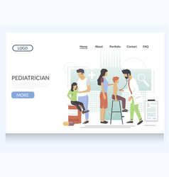 pediatrician website landing page design vector image