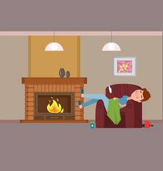 person covered with blanket sleeping by fireplace vector image