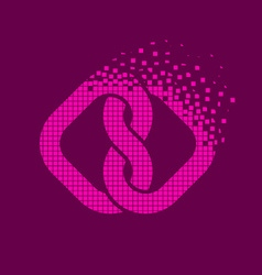 Pink linked hearts flying pixel unity symbol vector