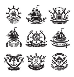 Pirate skull corsair ships symbols of piracy vector