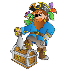 Pirate standing on treasure chest vector