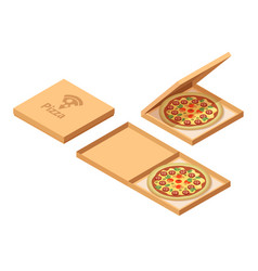 pizza cardboard boxes set isometric view opened vector image