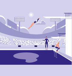 players in pool for diving competition vector image