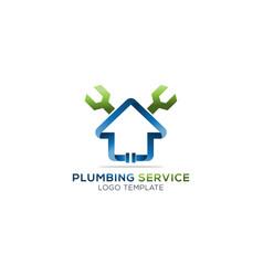 Plumbing house service company logo vector