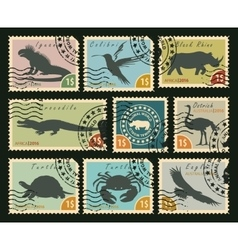 postage stamps on the theme of wildlife vector image