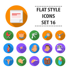 pregnancy set icons in flat style big collection vector image