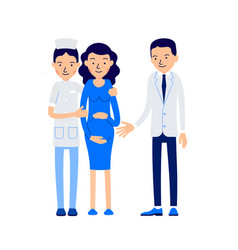 pregnant couple and doctor female doctor hugs vector image