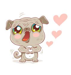 Pug in kawaii style vector
