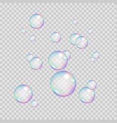 realistic rainbow color bubbles colorful soap vector image
