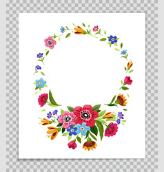 Round flower frame template for invitation card vector