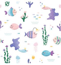 sealife cartoon seamless pattern cute fish vector image