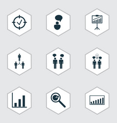 set 9 executive icons includes company vector image