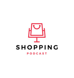 shopping podcast logo icon for shop blog video vector image