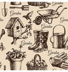 Sketch gardening seamless pattern vector image