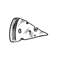 Sketch of cheese slice with holes vector