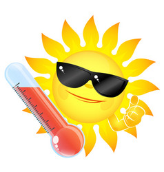 Sun and thermometer high temperature vector