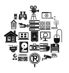 surveillance icons set simple style vector image