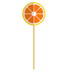 Sweet orange round shaped lollipop candy vector