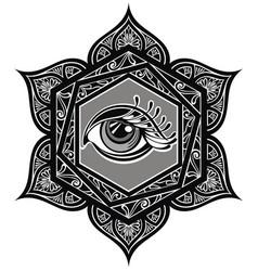 Tattoo mandala with eye vector