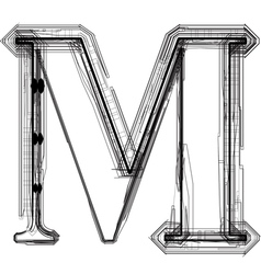 Technical typography Letter M vector