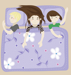 the kids sleep in the bedroom blue vector image