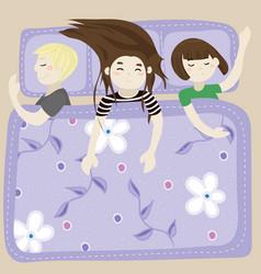 The kids sleep in the bedroom blue vector