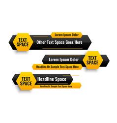 Three hexagonal style lower third banners design vector