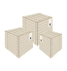 Three Wooden Cargo Boxs on White Background vector image