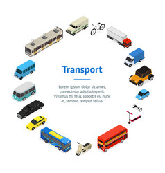 transport car 3d banner card circle isometric view vector image