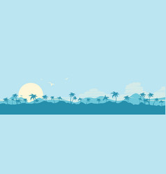 tropical island paradise background with palms vector image