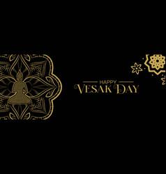 vesak day banner gold lotus flower and buddha vector image