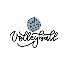 Volleyball black linear lettering on white vector