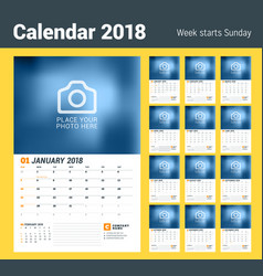 Wall calendar planner for 2018 year set of 12 vector