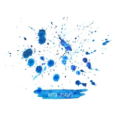 watercolor splashes set isolated on white vector image