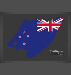 Wellington new zealand map with national flag vector