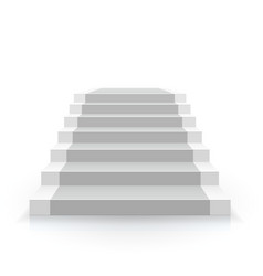 White stair front view 3d staircase for interior vector