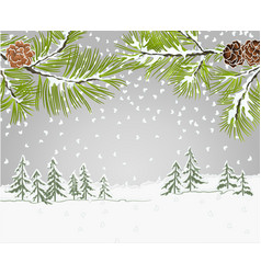 Winter landscape pine branches with snow and pine vector