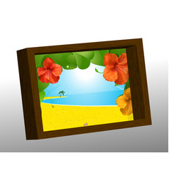 Wooden photo frame with summer picture vector