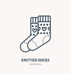 Woolen socks knitted clothing vector