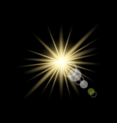 Yellow light sun glare optics vector