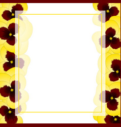 yellow pansy flower banner card border vector image