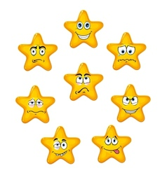 Yellow star icons with different emotions vector