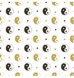 Yin yang seamless background gold pattern for vector