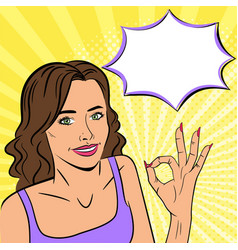 young beautiful woman showing ok sign smile vector image