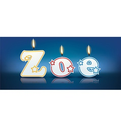 ZOE written with burning candles vector image