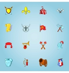 Medieval weapons icons set cartoon style vector image