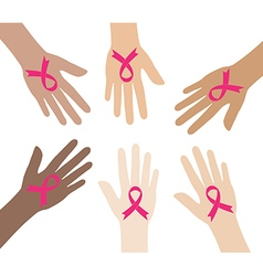 pink breast cancer awareness ribbons vector image